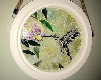 Hummingbird glass mosaic framed wall hanging