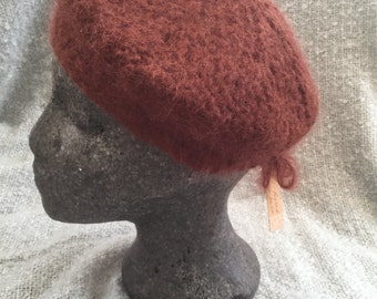 Felted  hand knitted mohair beret