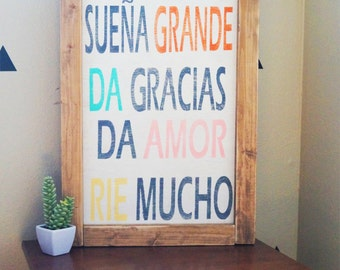 Vive Grande 16 x 24 Handcrafted wooden frame in Spanish- Wood Sign – Wood Home Wall Décor