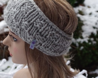Wool headband in grey