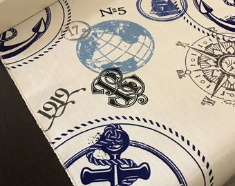 Nautical Anchor Table Runner | Nautical Table Runner | Globe Table Runner | Beach Table Runner | Summer Table Runner | Nautical Centerpiece