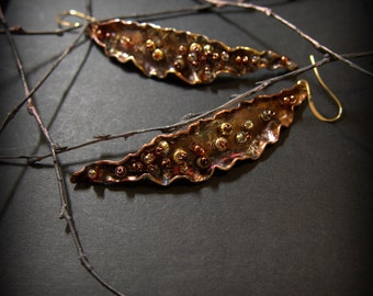 "Large Long Copper Earrings ""Autumn Leaves"""