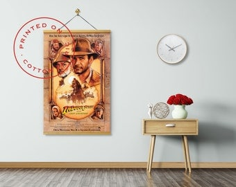 INDIANA JONES: The Last Crusade Poster on Fabric, Harrison Ford, Sean Connery, Steven Spielberg, Pull down Poster, Poster Hanger