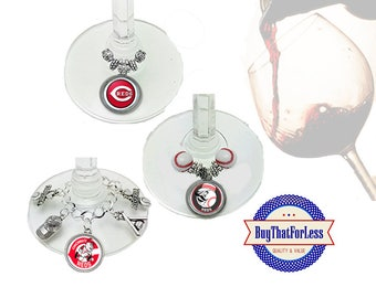 CINCINNATI Wine or Bottle Charms, Napkin Rings, Set of 6, U Choose Style +FREE SHiPPiNG & Discounts*