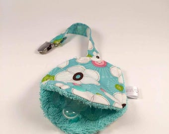 CLEARANCE-Soother holder - turquoise flowers