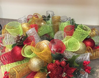 Deco Mesh Christmas Candle Holder