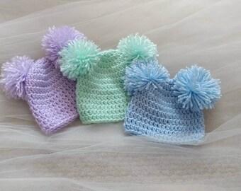 Pom Pom Beanie - Double Pom Pom Beanie - Baby Beanie - Crochet Beanie - Photo Prop - Newborn Beanie -
