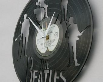 The Beatles vinyl record wall clock, ideal for home decor, unique gift present and hand made art, interior design for music fan, 009
