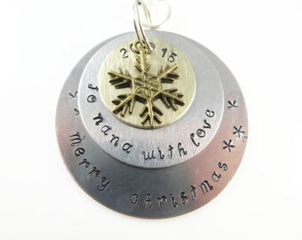 Hand stamped nana christmas ornament----Sample - will custom make -