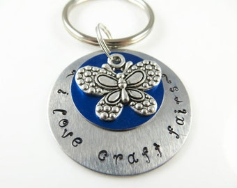 Hand stamped - I love craft fairs - keychain
