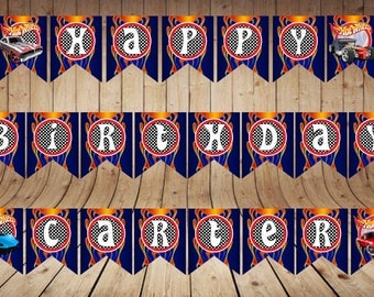 Birthday Banner | Hot Wheels DIgital Banner | Hot Wheels Party Decor | Letters, Numbers and Pic | Instant Download | PDF Files|Cars