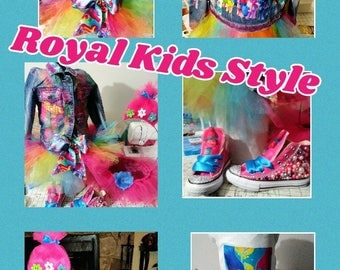 Customize tutu and shirt set with bows, jean jacket/vest and customize shoes
