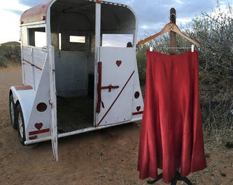 Burgundy Silk Skirt, Western Womens Skirt, Santa Fe Style, Dressy Skirt, Sundance, Medium