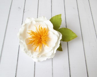 White Tea Rose Hairpin - Brooch hair pin - Flowers hair accessories - Foam handmade flowers - Hair decoration - Rose bobby pin -Green leaves