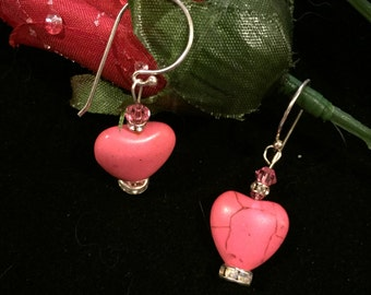 Heart shaped pink turquoise earrings valentines earrings gemstone valentines earrings