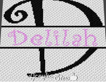 Custom Graphgan Pattern - Corner to Corner - C2C Crochet - Basket Weave - Delilah Letter Name Blanket Afghan Crochet Pattern Graph Chart