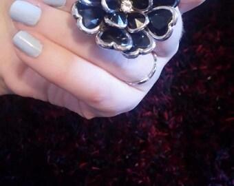 Large black flower Floral statement ring