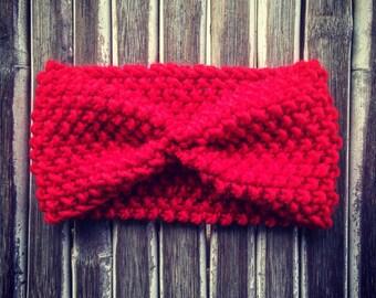 Headband red wool - earflap red wool - wool - wool ear warmer - headband, ski headband - ski ear warmer - headband