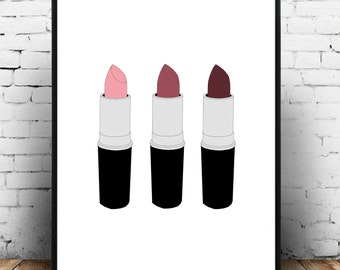 Beauty fashion MUA lipstick wall art, poster, print! A3 size for the home! Makes a wonderful gift for a makeup lover!