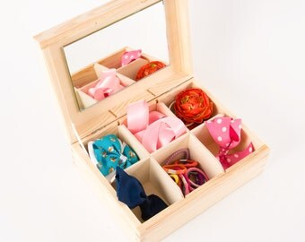 Compartment box with mirror. Pine wooden box. Hinged lid  box. 6 compartment box. 6 section box. Unfinished wooden box. Jewellery Box.