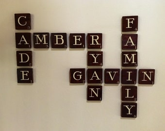 "3.5"" x 3.5"" SCRABBLE WALL LETTER, wood letters, scrabble wall tiles scrabble tiles, wall gallery, sign, farmhouse decoration expresso rustic"