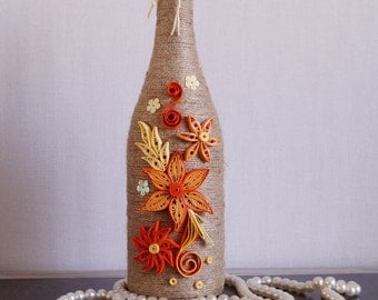 wine bottle decor, decorated wine bottles, home wine bottle decor, custom wine bottle