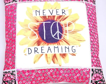 Never Stop Dreaming Rhinestone Peace Pillow Cushion Cover One off Decorative Applique