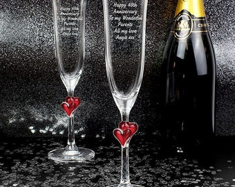 Engraved Personalised Heart Stem Flutes For Wedding Anniversary Engagement Gift