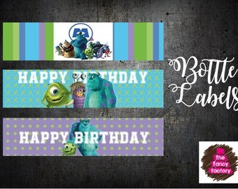 monsters inc. bottle labels