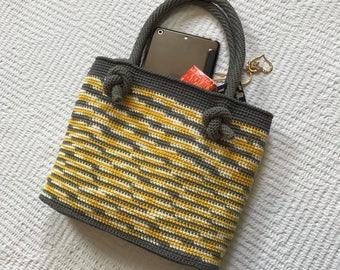 Crochet handbag / knitted handbag / shoulder bag / small tote / spring and summer bag / rope handles