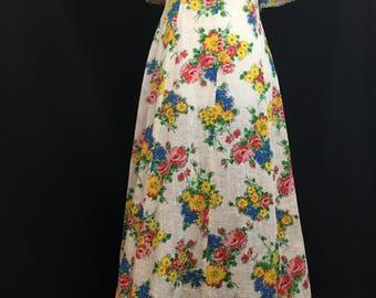 60's/70's Flutter Sleeve Bohemian Maxi Dress