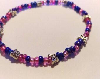 Pink blue butterfly stretch bracelet