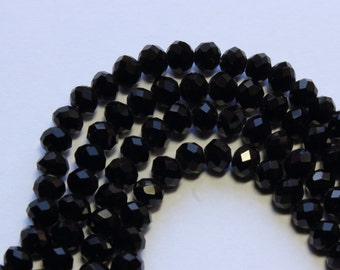 4x3mm Black Jet Beads Faceted Crystal Glass Opaque Rondelles 17 inch strand 130 Beads