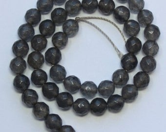 8mm Gray Beads Grey Agate Faceted Rounds 15 inch Strand 45 Beads