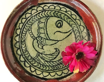 Handmade Stoneware Madhubani Fish Motif Plate - Wheel Thrown, Glazed and High-fired Stoneware Decorative Plate