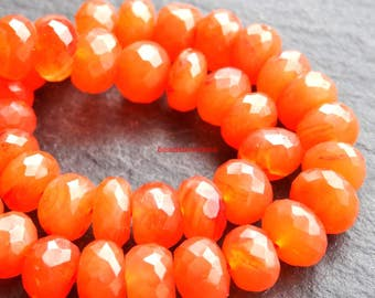 AAA natural carnelian faceted rondelle beads, carnelian loose gemstone, orange stone necklace jewelry 8-9mm