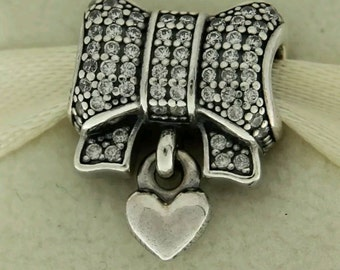 SALE- 925  Sterling Silver Heart and Bow Clear CZ Charm Stamped 925