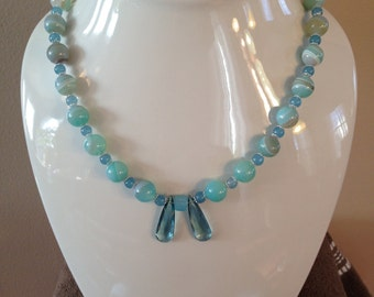Genuine Banded Agate and Aquamarine Quartz Jewelry Set