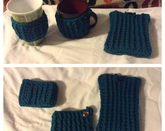 Teal Cable Cozy Set