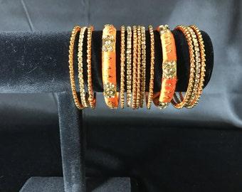 Indian Bangles - Silk Thread Bangles - Gold and Silk Jewelry - Indian Jewelry - South Indian Jewelry - Indian Bridal Jewelry - Kundan Bangle