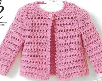Crochet pattern King Cole 4416 D.K. Cardigan, dress and hat size 12~22ins.