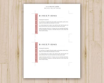 recipe card template etsy