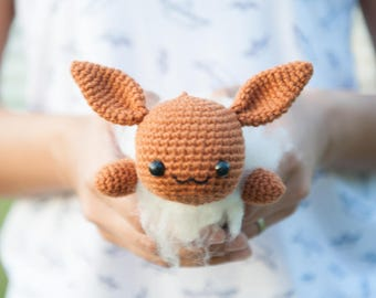 Lazy Eevee Amigurumi Plush Doll DIY Crochet Material Kit with pattern (lying/sleeping/resting series from Pokemon)