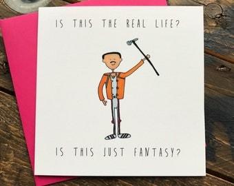 Freddy Mercury lyrics quote greeting card - Bohemian Rhapsody