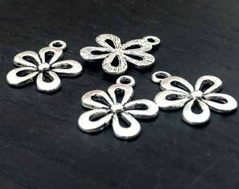 2 Silver Flower Charms | Daisy Charm | Flower Charm | Flower Pendant | Daisy Pendant | Flower Jewelry | Ready to Ship from USA | AS280-2