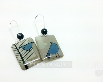 Earrings blue graphic birds