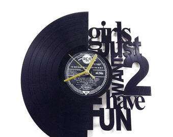 """Cyndi Lauper Song """"Girls just want to have fun"""" Vinyl Clock"""