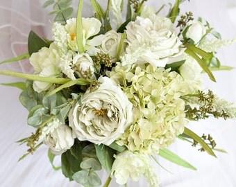 Green Wedding Bouquet, Mint Bouquet, Artificial Flower Bouquet, Silk Flowers, Greenery Bridal Bouquet, Monochromatic Bouquet, Rose Bouquet