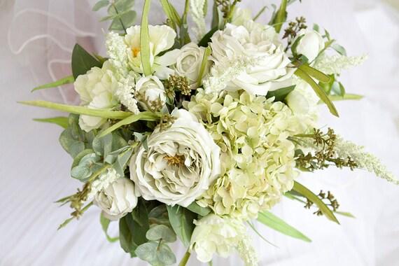 Green Wedding Bouquet Mint Artificial Flower Silk Flowers Greenery Bridal