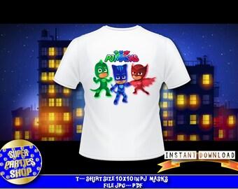 Pj Masks Digital  t-shirt, t-shirt ,pj masks invite , pj masks invitation , pj mask t-shirt , Pj Masks Birthday,pj masks isntant download